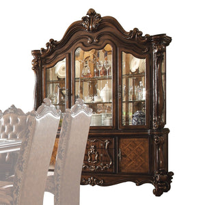 Acme 61104 Versailles Cherry Oak Hutch Buffet Light China Cabinet