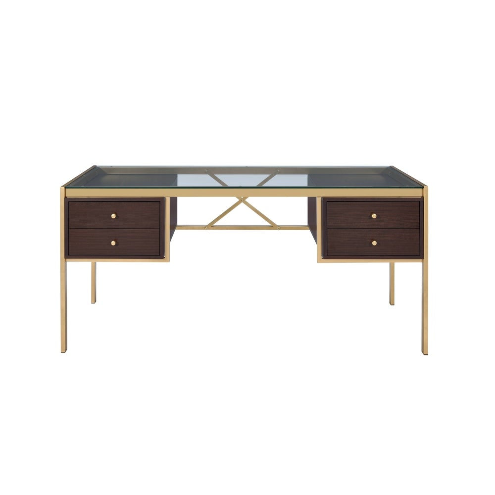 Acme 92785 Yumia Espresso Wood & Gold Metal Finish Office Desk