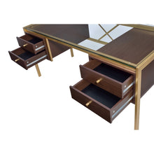 Load image into Gallery viewer, Acme 92785 Yumia Espresso Wood & Gold Metal Finish Office Desk