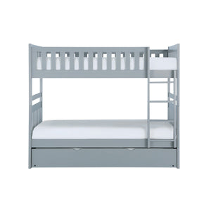 Homelegance Orion Gray Wood Finish Twin Over Twin Bunk Bed With Trundle