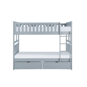 Homelegance Orion Gray Wood Finish Full Over Full Bunk Bed With Drawers