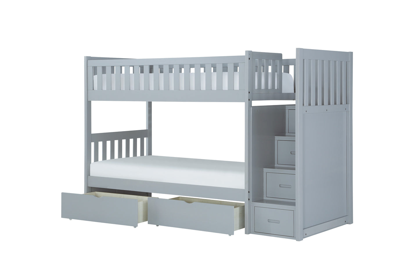 Homelegance Orion Gray Wood Finish Bunk Bed With Drawer