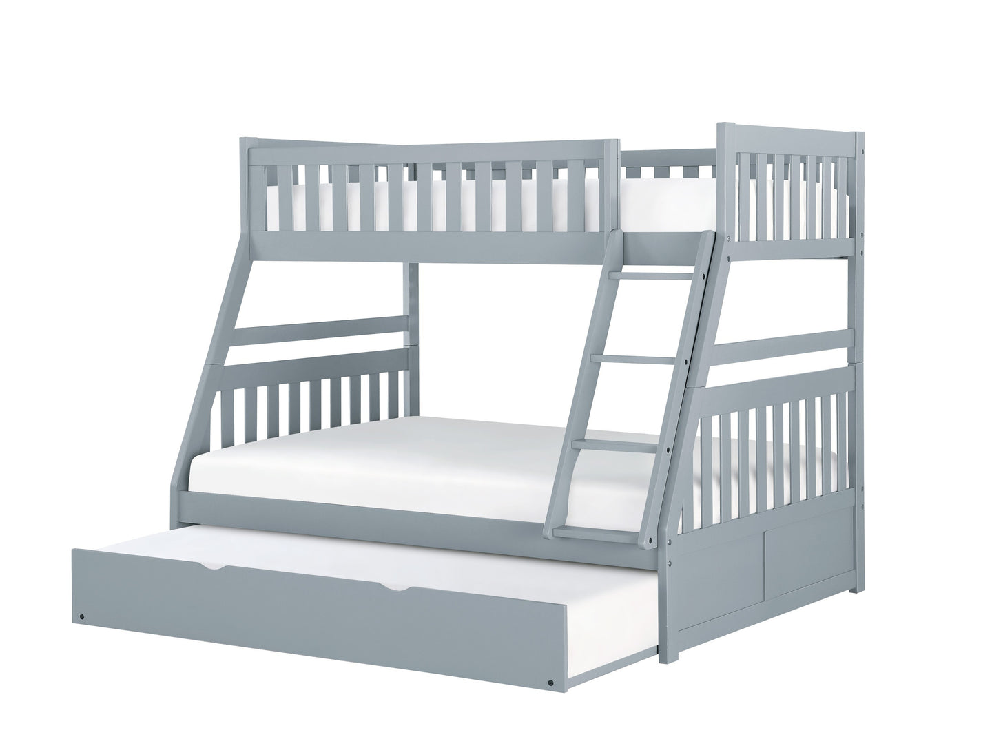 Homelegance Orion Gray Wood Finish Twin Over Full Bunk Bed With Drawers