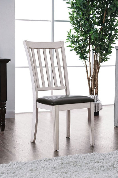 Furniture of America Rae Espresso & White Side Chair Set of 2