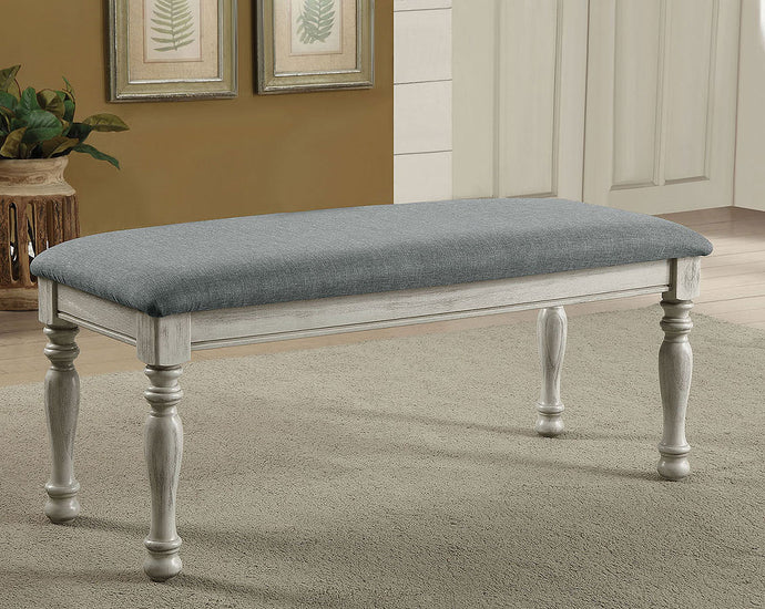 Furniture of America Siobhan II Antique White Fabric Bench