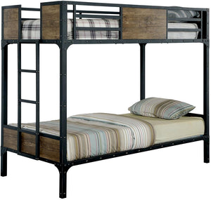 Furniture of America CM-BK029TT Clapton Black Twin over Twin Bunk Bed