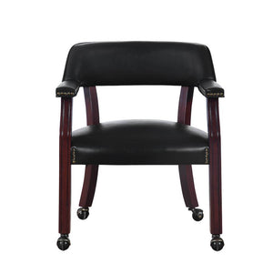 Coaster Chestnut Wood Black Leatherette Chair