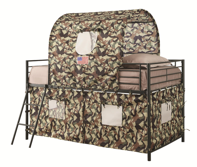 Green Camouflage Tent Twin Loft Bed
