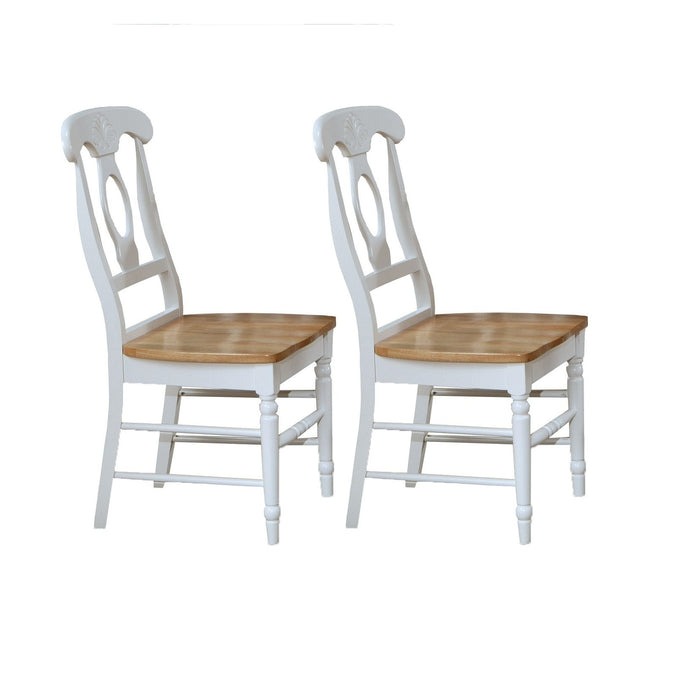 Damen Napoleon Natural White Wood Finish 2 Piece Dining Side Chair