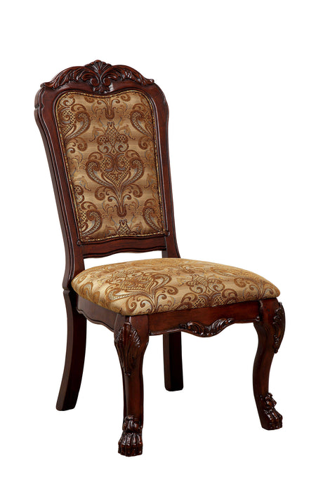 Furniture of America Medieve Traditional Cherry Side Chair Set of 2