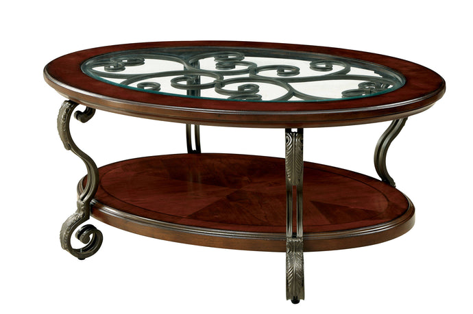 May Living Room Brown Cherry Coffee Table CM4326C Furniture Of America