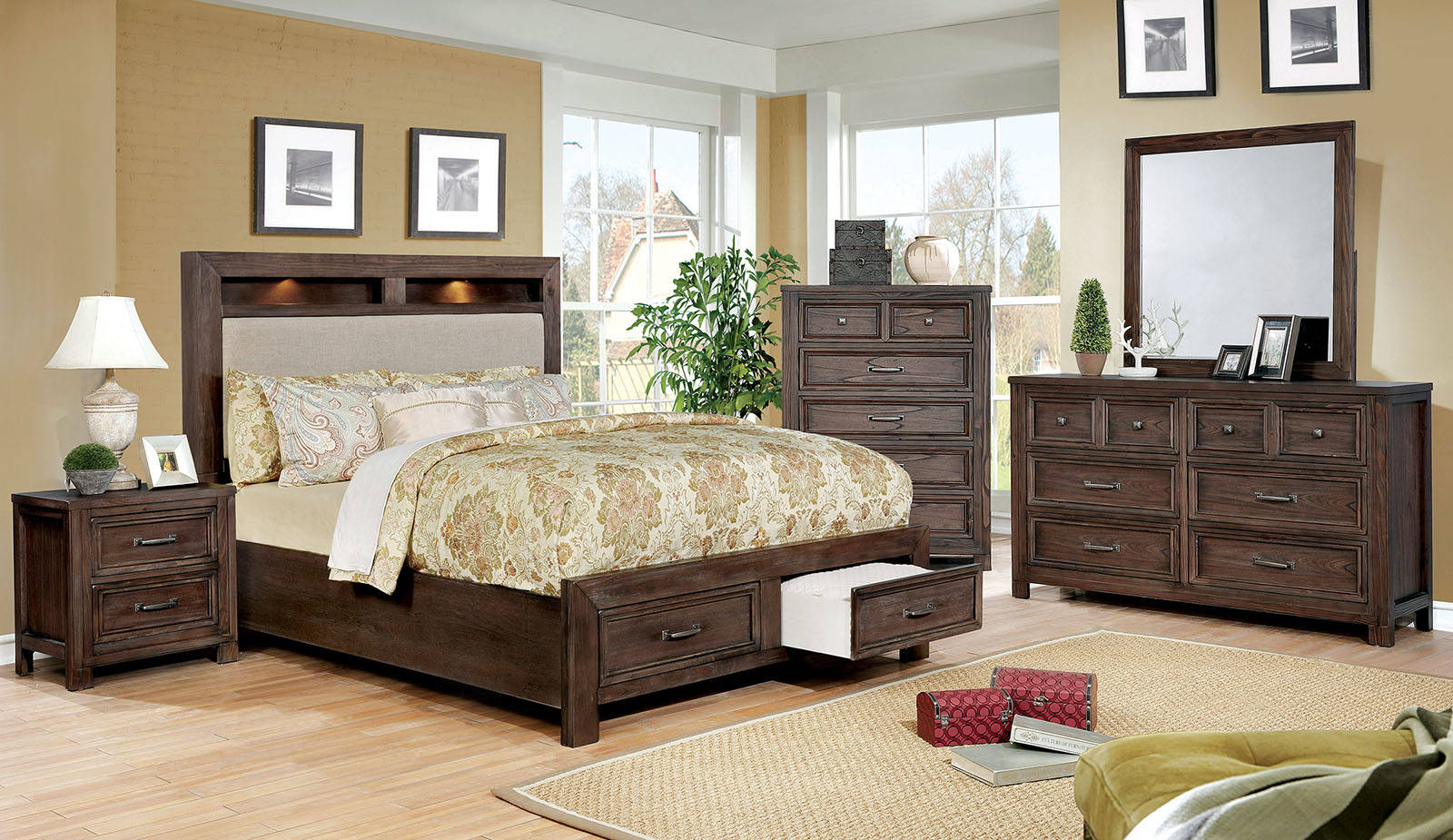 Furniture of America 4 Piece Tywyn Dark Oak Cal.King Bedroom Set