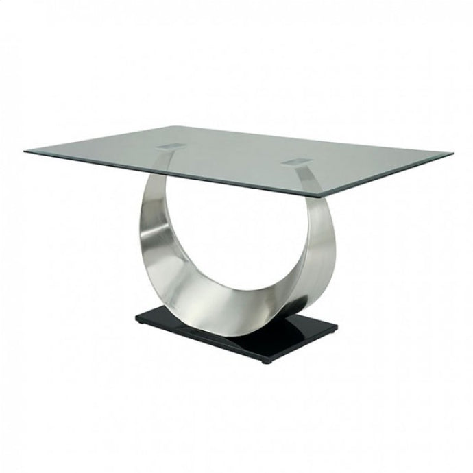 Orla CM3726T Contemporary Silver and Black Finish Dining Table