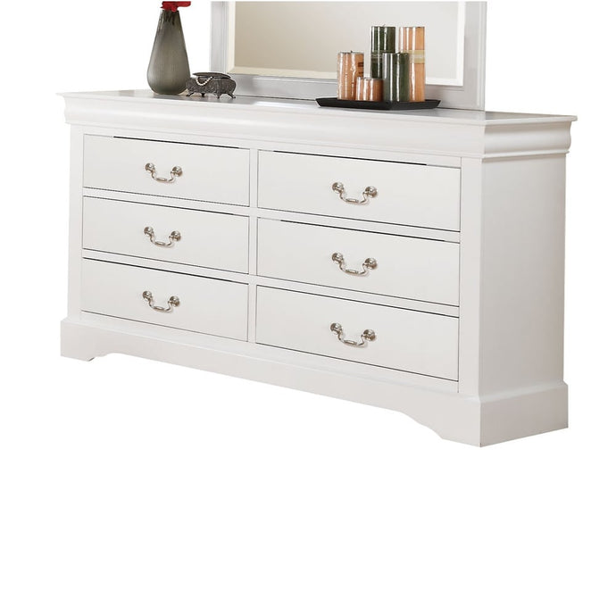 Acme Louis Philippe White Wood Finish 6 Drawer Dresser