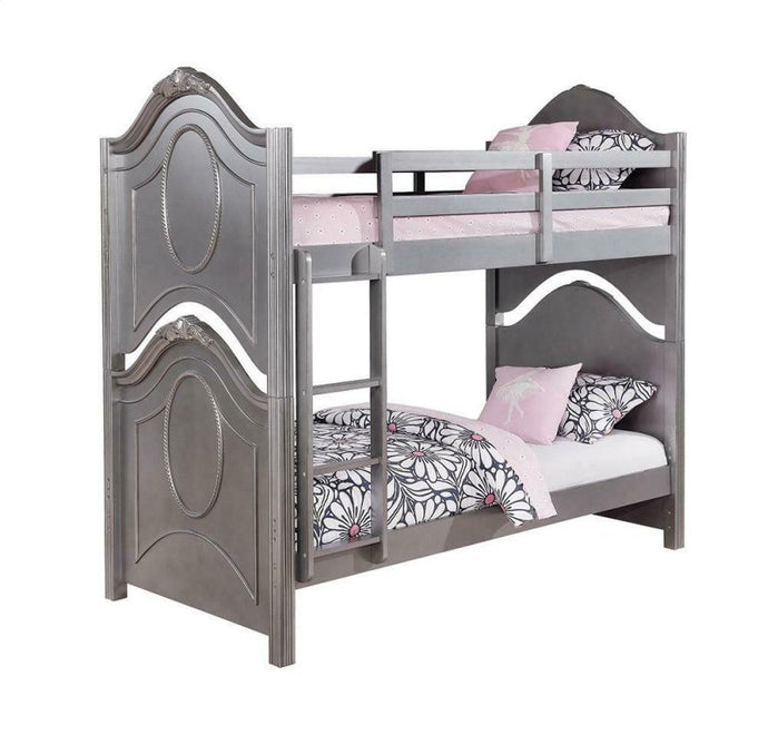 Homy Living Valentine Metallic Pewter Wood Finish Twin Over Twin Bunk Bed