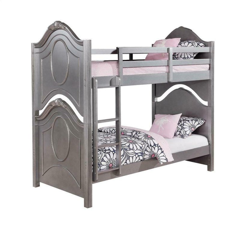 Homy Living Valentine Metallic Pewter Valentine Twin Over Full Bunk Bed