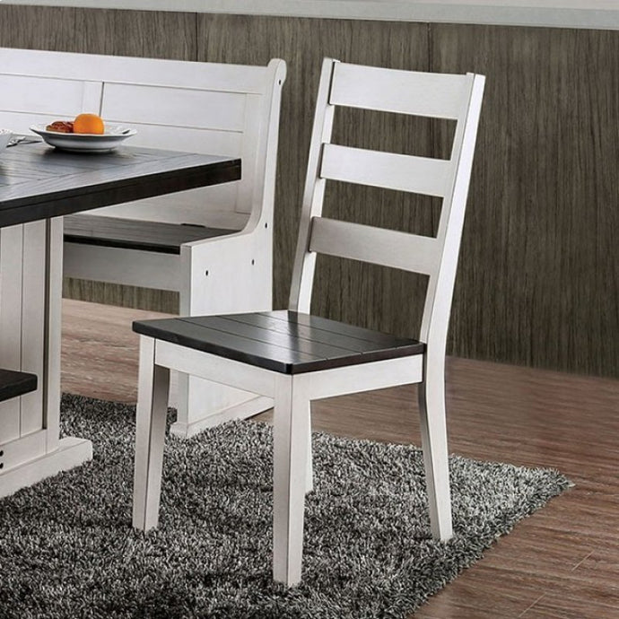 Furniture of America Nekoma Espresso & White Dining Chair Set of 2
