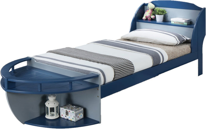 Acme 30620T Neptune Ii Gray And Navy Wood Finish Twin Boat Storage Bed