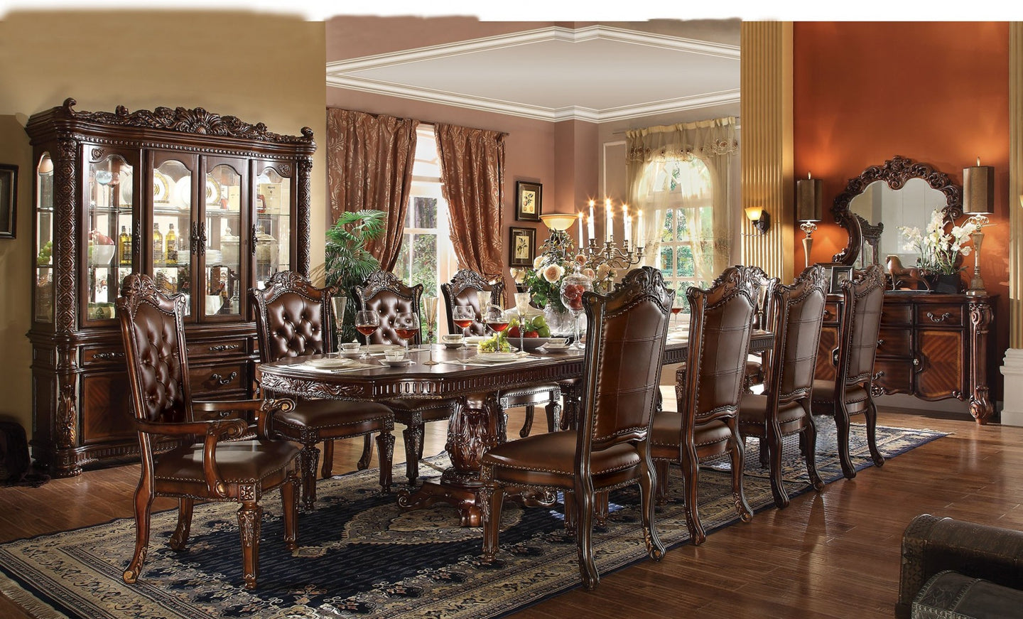 Acme 62000 Vendome Cherry Double Pedestal 9 Piece Dining Table Set