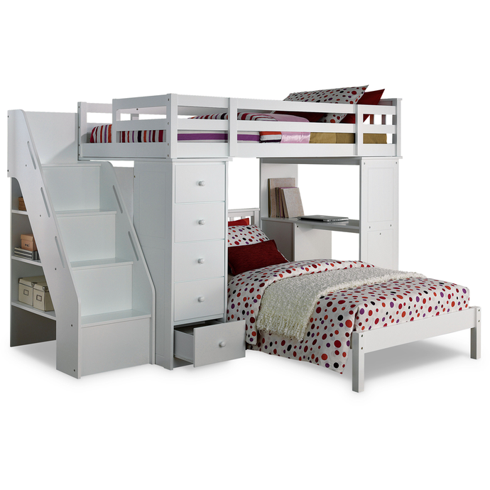 Acme 37145 Freya White Bookcase Twin Loft Bed with Bottom Bed