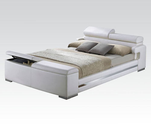 Acme Layla White PU Leather Finish Eastern King Bed