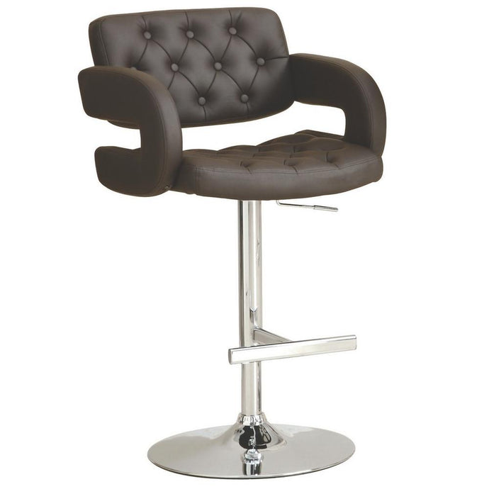 Brown Upholstered Chrome Base Adjustable Bar Stool
