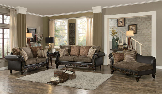 Thibodaux 3PCs Traditional Brown Print Fabric Vinyl Sofa Set