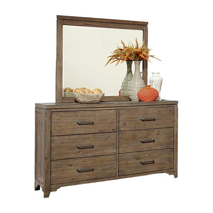 Homelegance Lyer Brown Wood Finish Dresser And Mirror Set