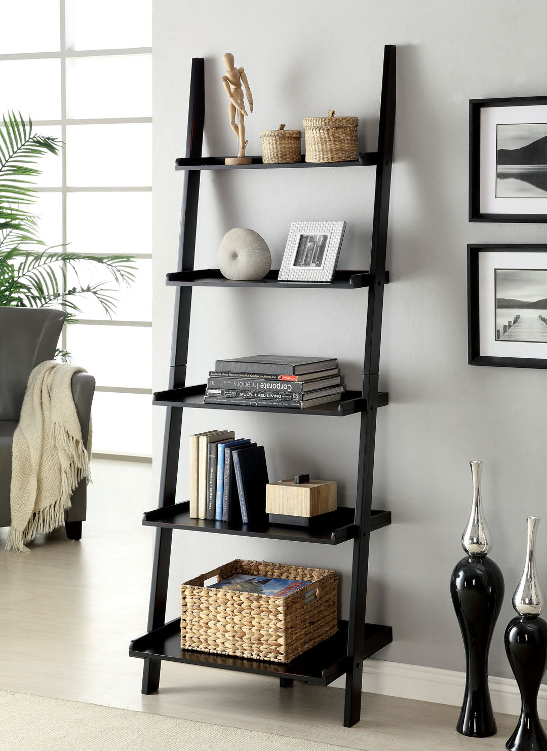 Furniture of America Sion Black Finish Contemporary Ladder Shelf