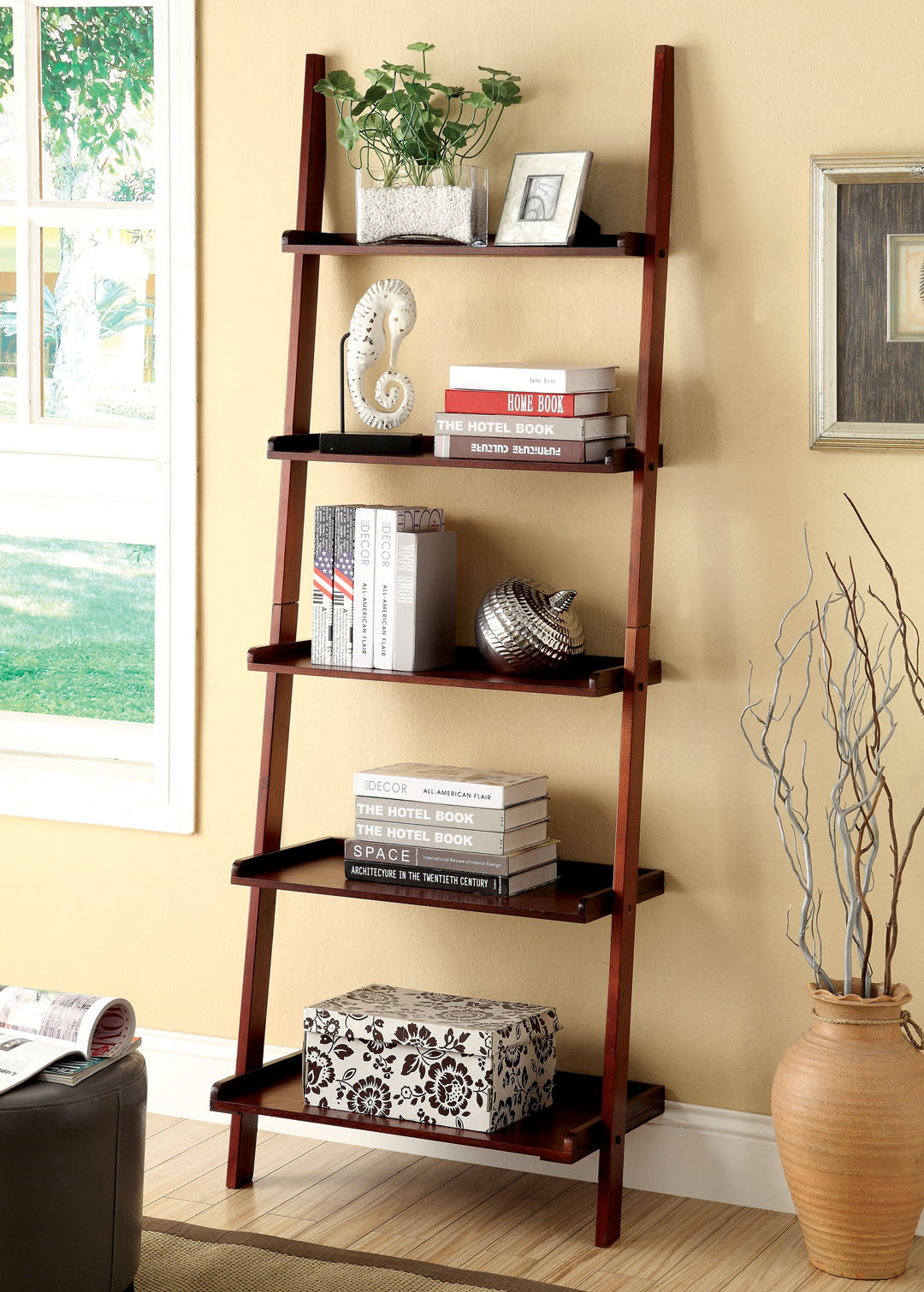 Furniture of America Sion Cherry Contemporary Ladder Shelf