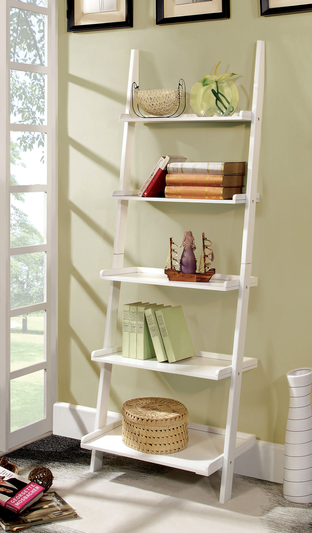 Furniture of America Sion White Contemporary Ladder Shelf