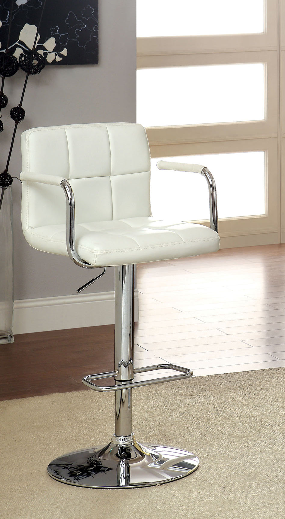 Corfu CM-BR6917WH White Finish Swivel Bar Stool With Armrests