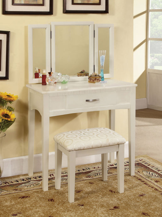 White Solid Wood Vanity with 3-Sided Mirror and Stool Modern Design