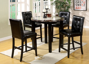 Atlas IV 5Pcs Faux Marble Table Top Black Counter Height Table Set