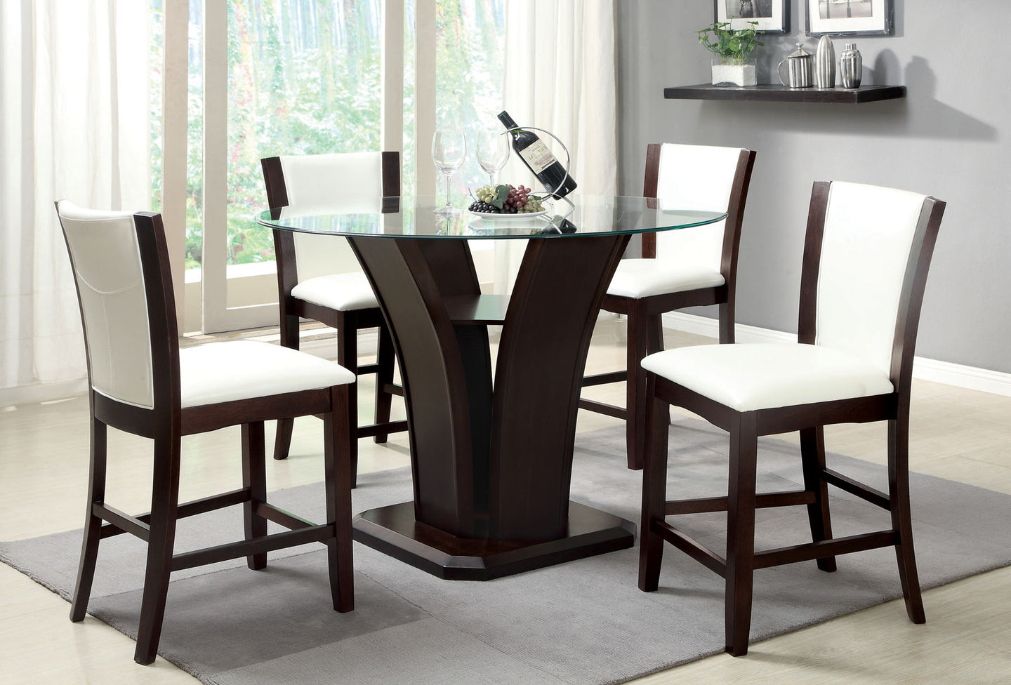 Furniture of America Manhattan III Cherry And White Wood Finish 5 Piece  Counter Height Table Set