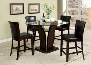 Furniture of America Manhattan III Dark Cherry Glass Top Finish 5 Piece Counter Height Table Set