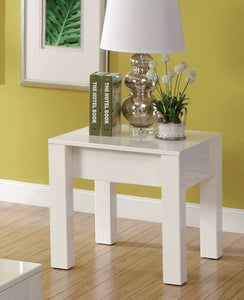 Furniture Of America Lonia White Lacquer Coating Finish End Table