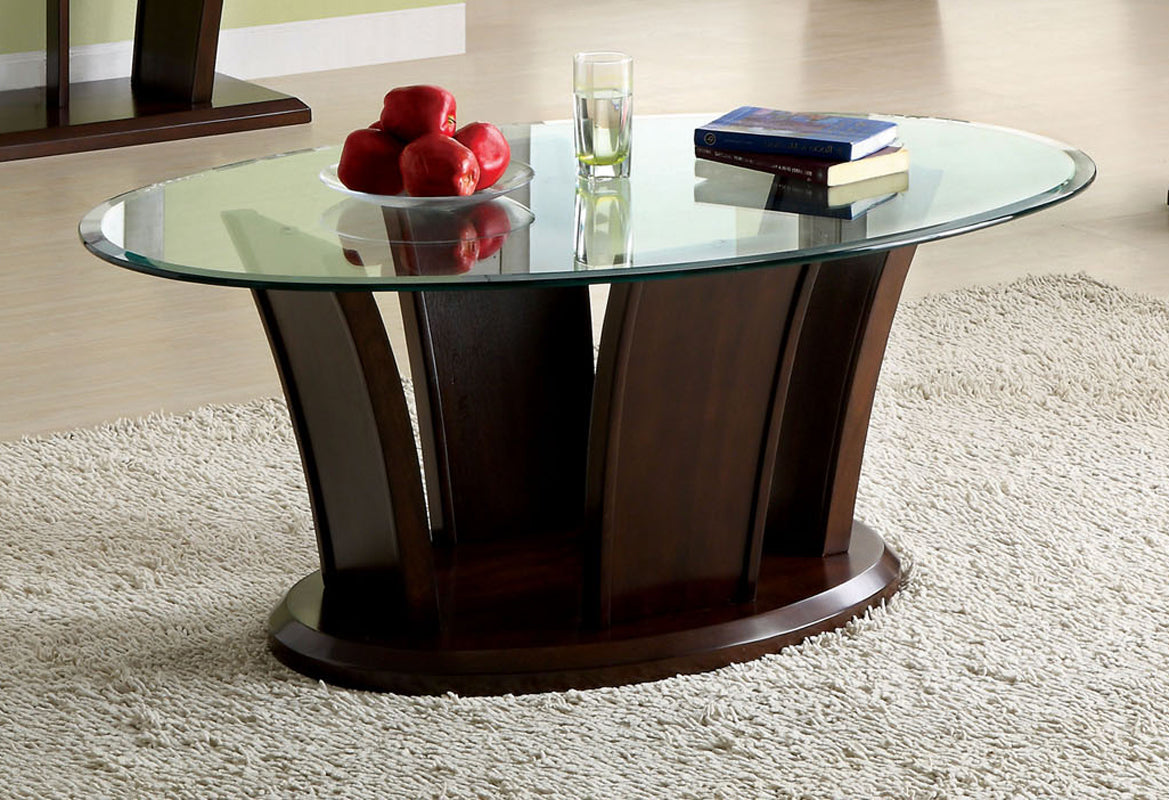 Furniture of America Manhattan IV Contemporary Dark Cherry Oval Coffee Table
