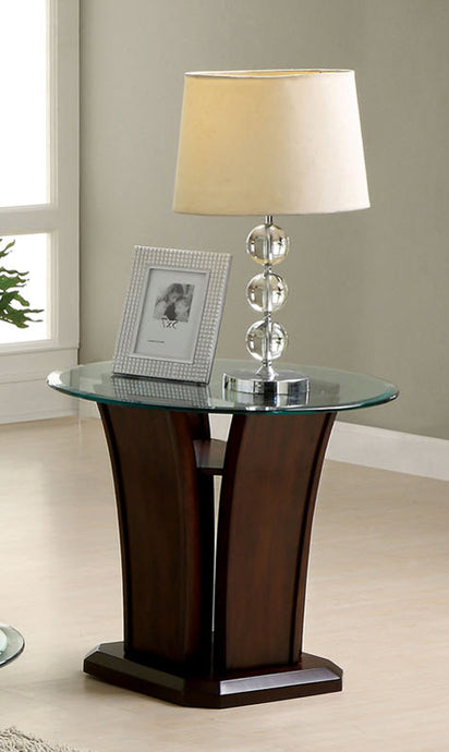 Furniture Of America Manhattan IV Dark Cherry Wood Finish End Table