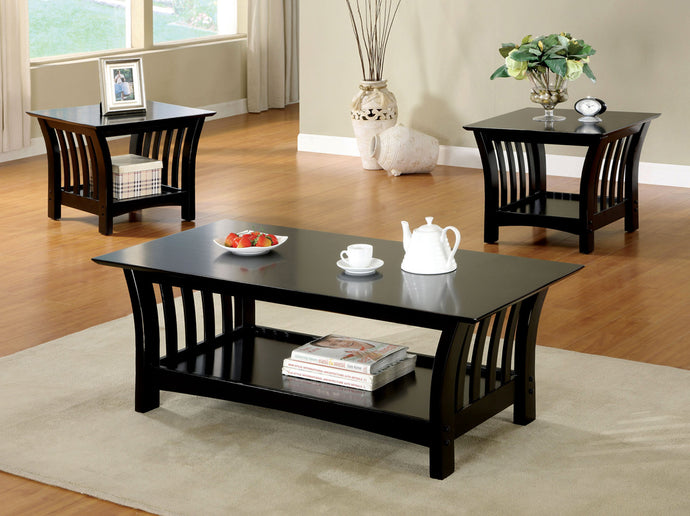 Furniture Of America Cranbrook Black Wood Finish 3 Piece Coffee Table Set