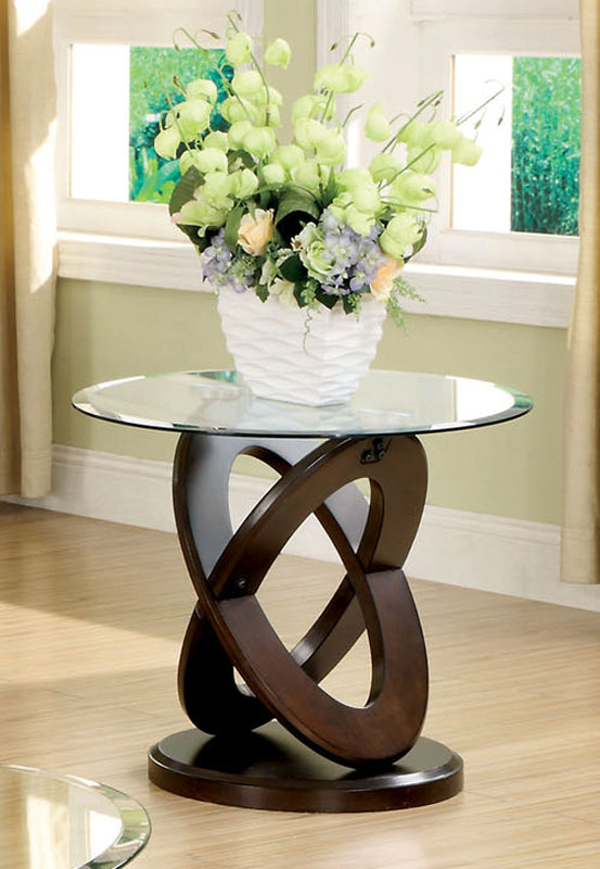 Furniture Of America Atwood II Dark Walnut Wood And Glass Top Finish Round End Table