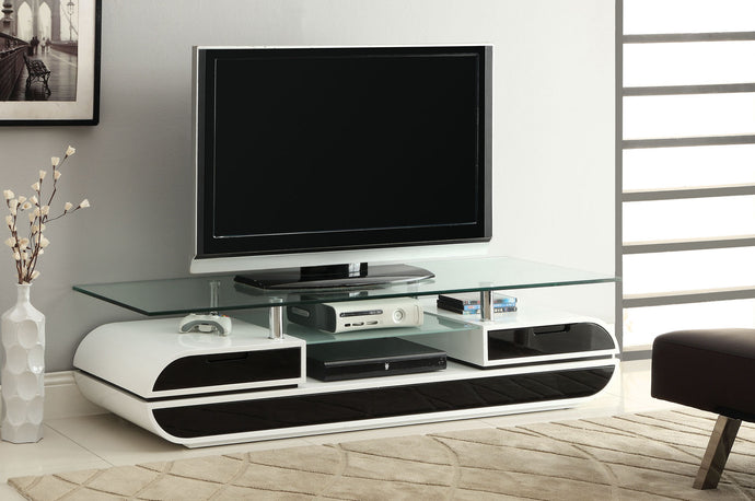 Furniture Of America Evos Black And White Glass Top Finish TV Console