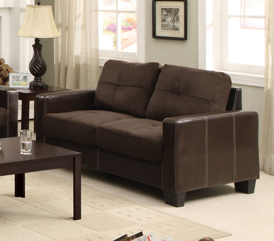 Furniture Of America Laverne Chocolate Leatherette Finish Loveseat