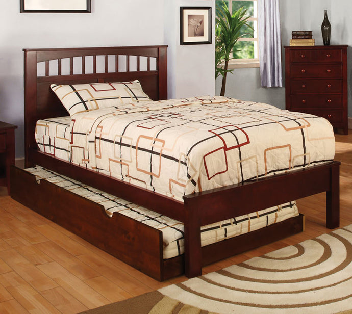 Furniture of America Carus Cherry Oak Wood Finish Twin Platform Bed With Trundle