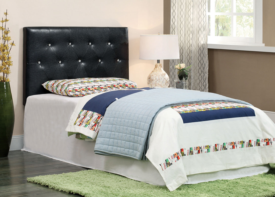 Furniture Of America Velen II Black Leatherette Finish Twin Headboard