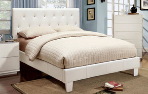 Velen CM7949WH-CK White Padded Leatherette California King Bed