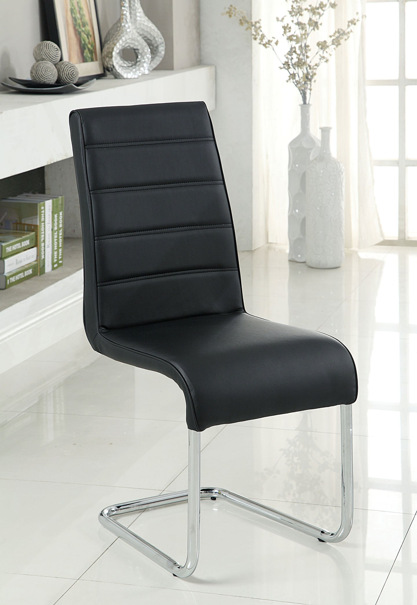 Mauna CM8371BK-SC Contemporary Black Chrome Legs Side Chair Set of 2