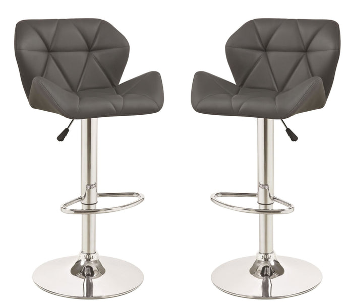 Homy Living Gray Leather And Chrome Finish 2 Piece Bar Stool