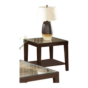Homelegance Vincent Espresso Wood And Glass Top Finish End Table