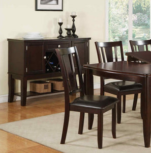 Poundex Brown Faux Leather Cushion Finish Dining Chair Set Of 2
